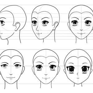 how to draw anime head face