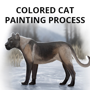 colored cat painting process