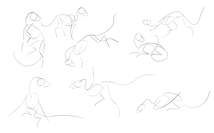 quick initial sketches of dragon bodies