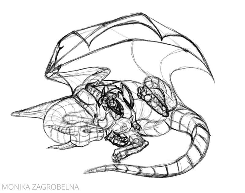 dragon line art