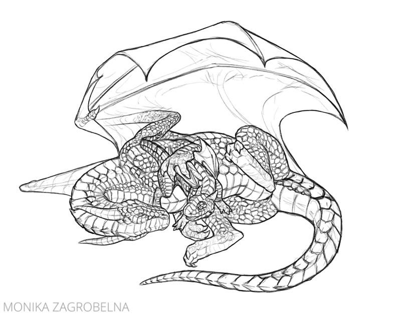 dragon drawing line art